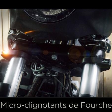 Micro-Clignotants de Fourche noir 36 à 56 mm par Heinz Bikes