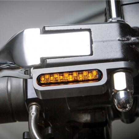 Mini-Clignotants avant chrome à LED par Heinz Bikes pour Harley