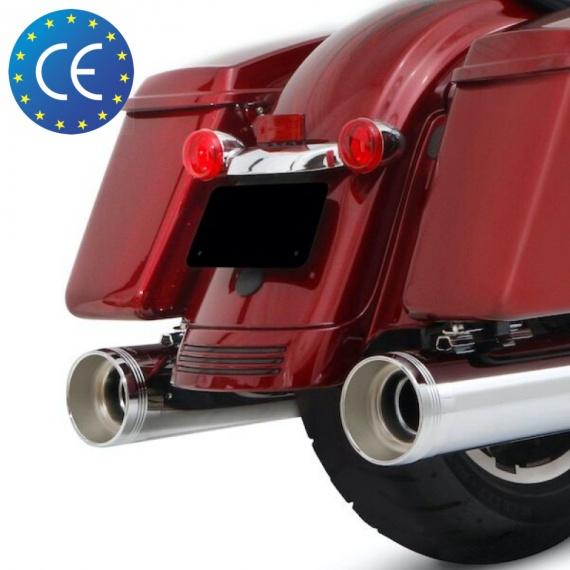 """Silencieux Chrome 4,5"""" ECE Euro 4 pour M-Eight par Rinehart®"""