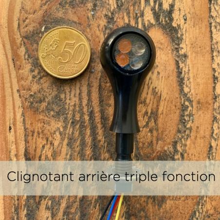 Mini-clignotant Arrière 3 fonctions Black à LED par Dragon Choppers