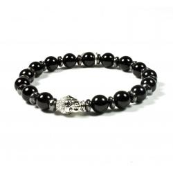 Bracelet Onyx brillant et tête de Bouddha argenté