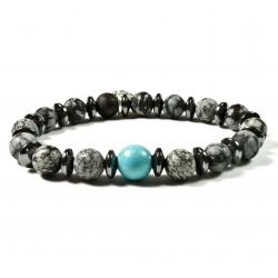 Bracelet Obsidienne flocon mat et perle Howlite turquoise