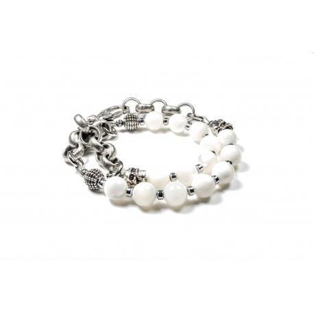 Bracelet double Nacre et chaine