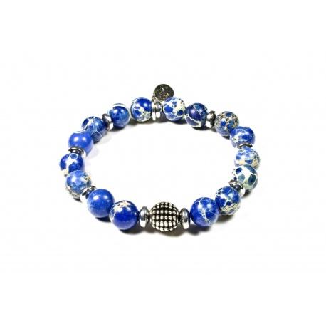 Bracelet Jaspe impérial bleu roi et Hématite