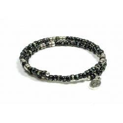 Bracelet mémoire de forme Matubo Picasso black et silver