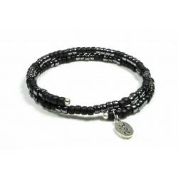 Bracelet mémoire de forme Matubo noir mat et gun métal