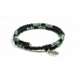 Bracelet mémoire de forme Matubo noir brillant et Picasso turquoise