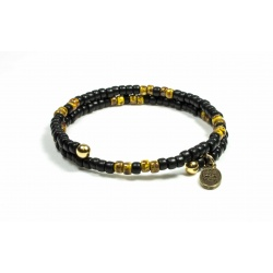 Bracelet mémoire de forme Matubo noir mat et Picasso jaune
