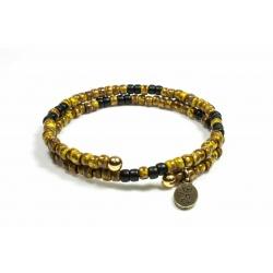 Bracelet mémoire de forme Matubo Picasso jaune et noir mat