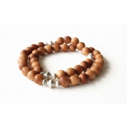 Bracelet bois de santal naturel double tour