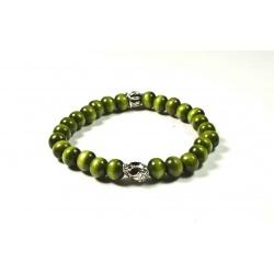 Bracelet bois de santal vert et tête de mort argenté