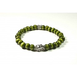 Bracelet bois de santal vert et tête de Bouddha argenté