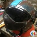 Marron décoloré vers bleu et bande bleu. Ecran estate masque cuir (prix sur devis)